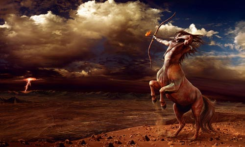 centauro de sagitário mirando meta