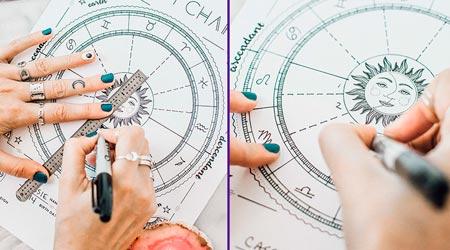 astrólogo desenhando mapa astral natal completo