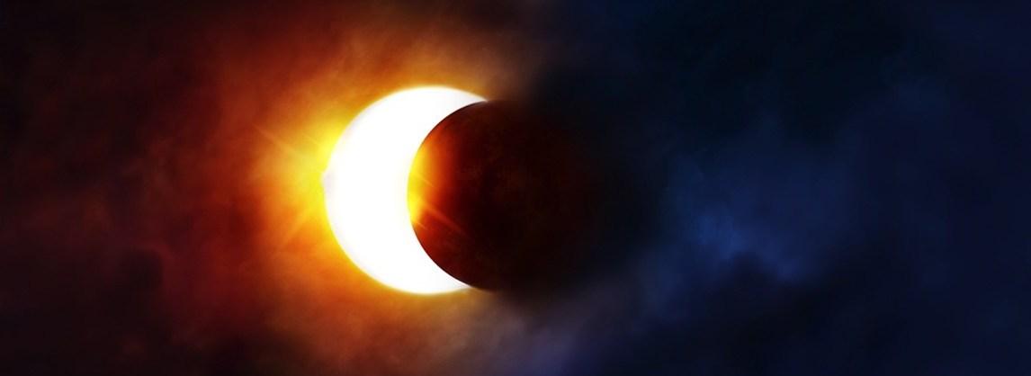 esquema do eclipse solar total