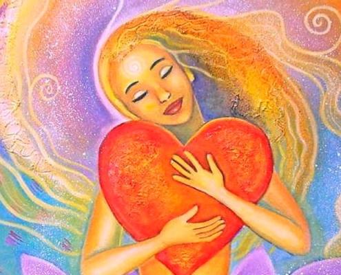 ilustração de mulher criando amor próprio