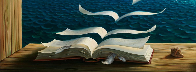 montagem surrealista de livros sobre espiritualidade