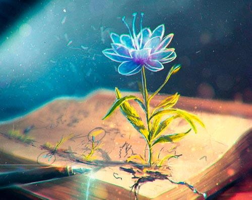 Registros Akáshicos: benefícios da consulta (livro mágico com flor nascendo)
