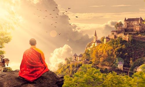 monge em iluminação espiritual: samadhi