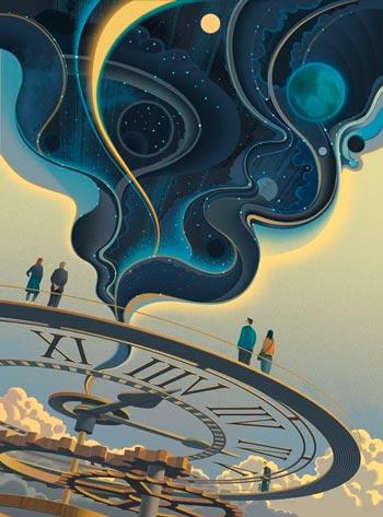 pessoas sobre relógio e tempo em hora de decidir - ilustrsção de sam chivers