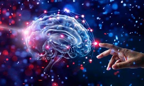 formas-pensamento no thetahealing - ilustração de mão tocando cérebro