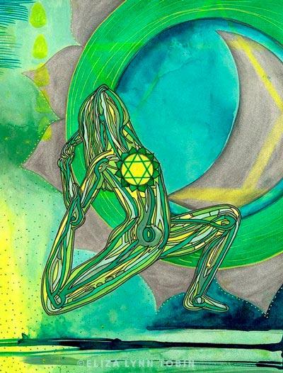 Glândula Timo e Anahata Chakra no Yoga - ilustração de Eliza Lynn Tobin