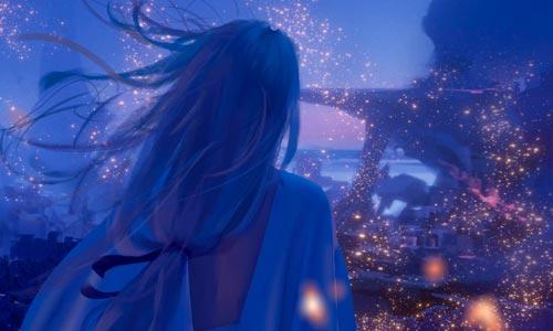 Uma mensagem de Fé e Confiança de Shantar - Ilustração mágica de WLOP - Mestre observando cidade brilhante