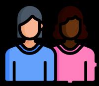 ícone outubro rosa - duas mulheres unidas